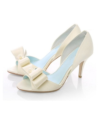 Femmes Satiné Talon stiletto À bout ouvert Beach Wedding Shoes avec Bowknot