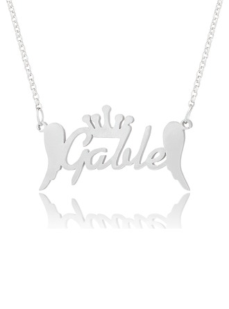 Custom 18k Gold Plated Silver Name Necklace With Crown Angeles