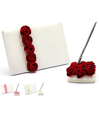 Luxe Red Rose Gras doublé Rose Livres d'or & Ensemble de crayon
