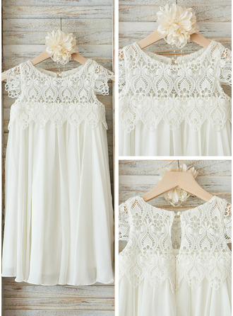 Empire Knee-length Flower Girl Dress - Chiffon/Lace Short Sleeves Scoop Neck With Ruffles