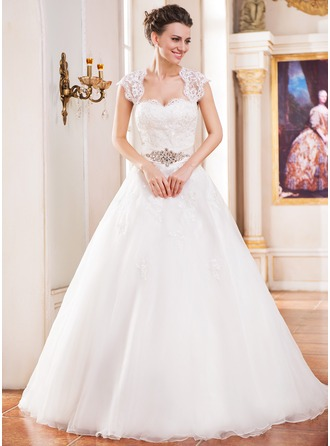 Ball-Gown Sweetheart Cathedral Train Organza Wedding Dress With Lace Beading