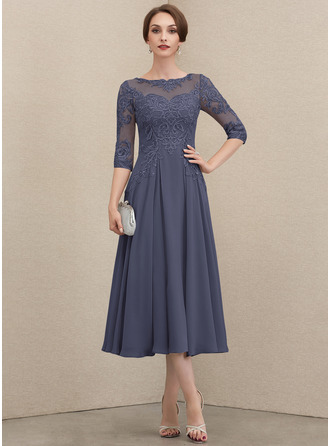 Round Neck 1/2 Sleeves Midi Dresses