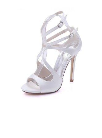 Women's Silk Like Satin Stiletto Heel Platform Pumps Sandals With Others
