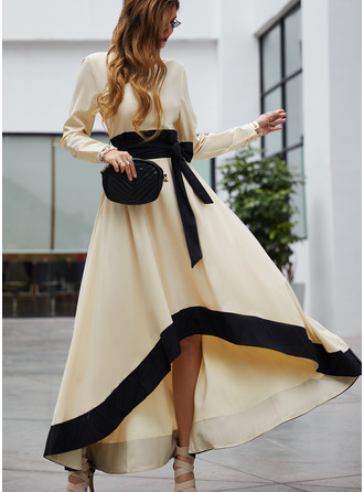 Color Block A-line Round Neck Long Sleeves Asymmetrical Casual Elegant Party Skater Dresses