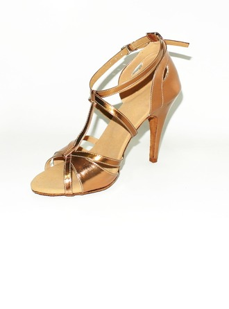Women's Leatherette Heels Sandals Latin Ballroom With T-Strap Dance Shoes