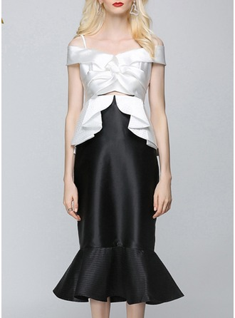 Polyester With Mermaid/Crumple/Ruffles Midi Dress
