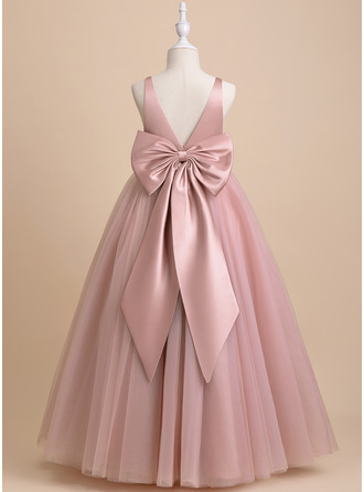 Ball-Gown/Princess Floor-length Flower Girl Dress - Tulle Sleeveless V-neck With Bow(s) V Back