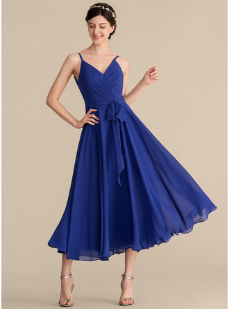 V-neck Tea-Length Chiffon Bridesmaid Dress With Ruffle Bow(s)