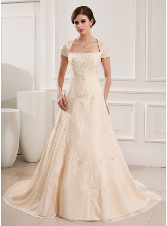 A-Line/Princess Square Neckline Court Train Chiffon Wedding Dress With Embroidered Beading