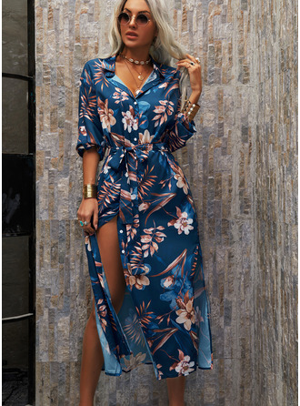 Floral Print A-line Shirt collar 3/4 Sleeves Maxi Casual Vacation Shirt Skater Dresses