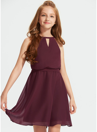 Scoop Neck Knee-Length Chiffon Junior Bridesmaid Dress With Bow(s)