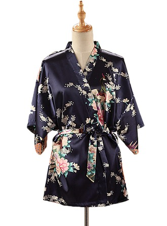 Bride Bridesmaid Silk With Short Floral Robes