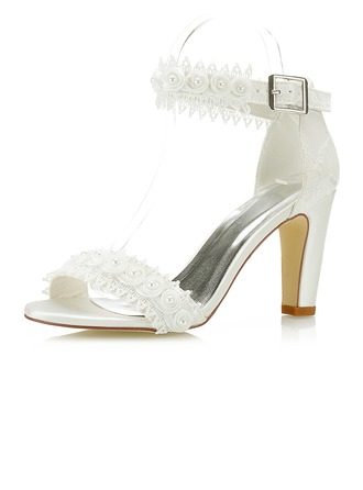Women's Lace Satin Chunky Heel Pumps With Applique