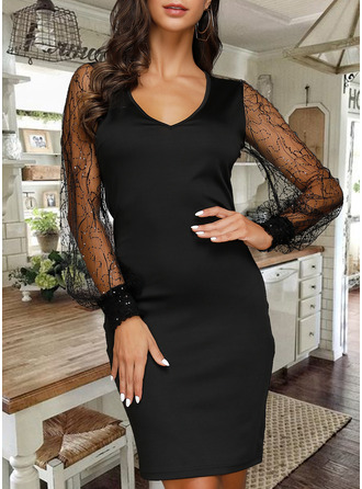 Lace Solid V-Neck Long Sleeves Lantern Sleeve Midi Dresses