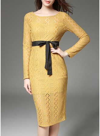 Lace mit Lace/Bowknot/Stitching/Hollow Midi Kleid