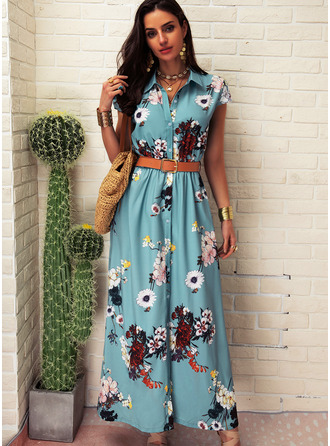 Floral Print A-line Shirt collar Short Sleeves Maxi Casual Vacation Shirt Dresses