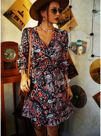 Floral Print A-line V-Neck Long Sleeves Midi Casual Skater Dresses