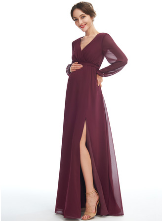 A-line V-Neck Floor-length Chiffon Maternity Bridesmaid Dress With Split Front