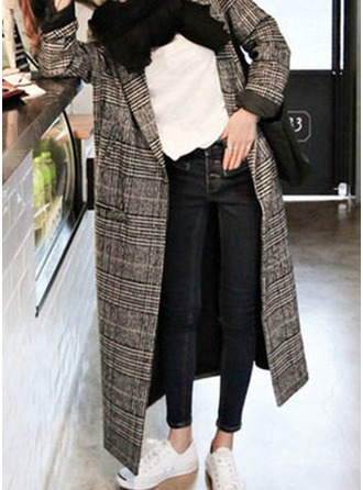 Cotton Long Sleeves Houndstooth Wool Coats ()