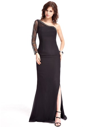 Trumpet/Mermaid One-Shoulder Sweep Train Chiffon Evening Dress With Beading Split Front