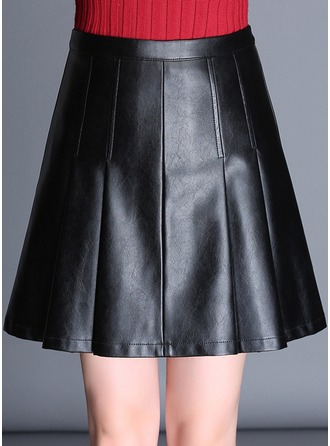 Sexy Skirts Above Knee Plain Leather/PU Skirts
