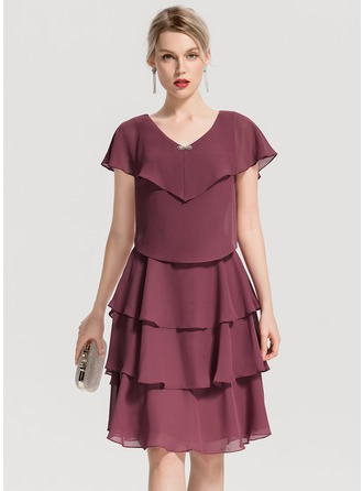 V-neck Knee-Length Chiffon Cocktail Dress With Beading Cascading Ruffles