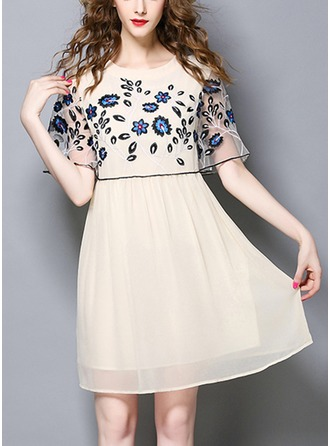 Chiffon With Mesh/Stitching/Embroidery/See-through Look Above Knee Dress