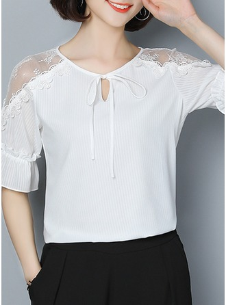 Polyester Round Neck Patchwork Flare Sleeve 1/2 Sleeves Casual Blouses