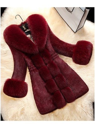 Faux Fur Long Sleeves Plain Slim Fit Coats Coats