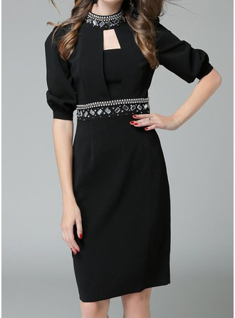 Polyester avec Couture/Strass longueur au genou Robe