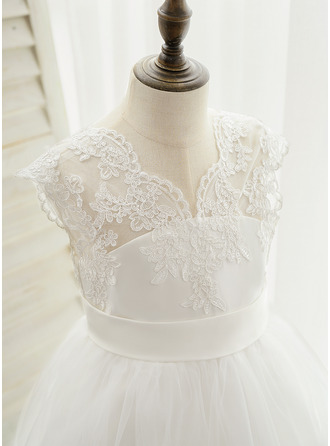 Ball-Gown/Princess Sweep Train Flower Girl Dress - Satin Lace Sleeveless V-neck With Embroidered (Undetachable sash)