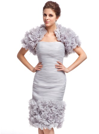 Sheath/Column Sweetheart Knee-Length Organza Cocktail Dress With Ruffle Flower(s)