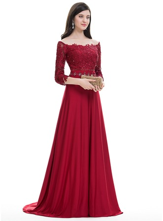A-Line/Princess Off-the-Shoulder Sweep Train Jersey Evening Dress With Beading Sequins
