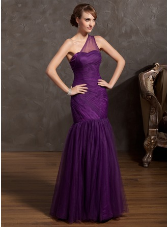 Trumpet/Mermaid One-Shoulder Floor-Length Tulle Prom Dress With Ruffle