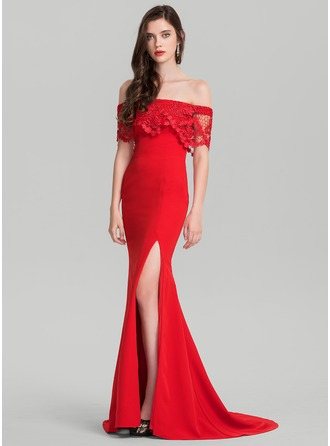 Trumpet/Mermaid Off-the-Shoulder Sweep Train Jersey Evening Dress