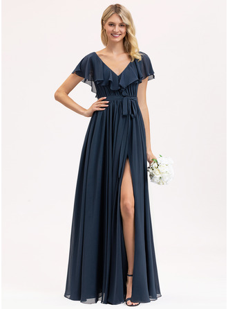 V-neck Floor-Length Chiffon Bridesmaid Dress With Bow(s) Split Front Cascading Ruffles