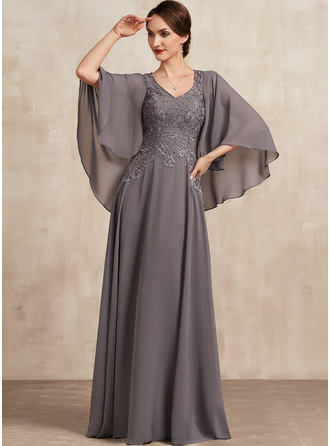V-neck Floor-Length Chiffon Lace Mother of the Bride Dress With Beading Sequins