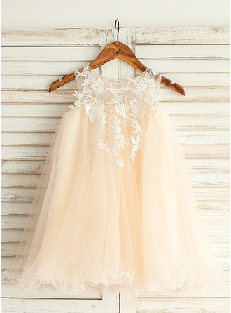 Empire Knee-length Flower Girl Dress - Tulle Lace Sleeveless Jewel