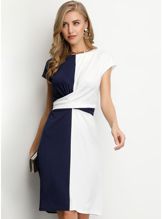 Polyester With Color-block Knee Length Dress