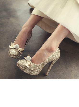 Femmes Pailletes scintillantes Talon stiletto Bout fermé Plateforme Beach Wedding Shoes avec Strass Cravate ruban
