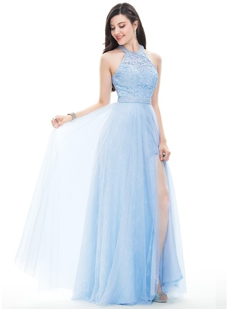 A-Line Halter Floor-Length Tulle Prom Dresses With Beading Sequins Split Front