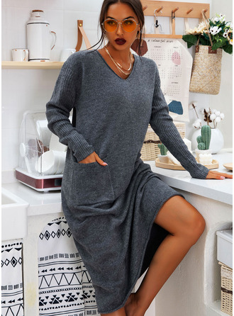 Pulls Tricot à Câble Couleur Unie Polyester Col V Pull-overs Robes pull Pulls