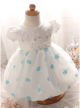 A-Line/Princess Knee-length Flower Girl Dress - Cotton Blends Short Sleeves Scoop Neck With Flower(s)