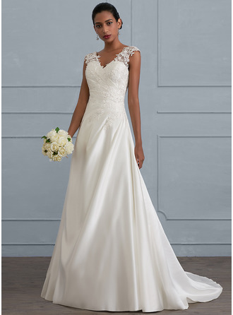 Ball Gown V Neck Sweep Train Satin Wedding Dress With Ruffle Beading Sequins