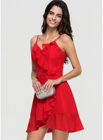 A-Line Sweetheart Short/Mini Chiffon Homecoming Dress With Cascading Ruffles