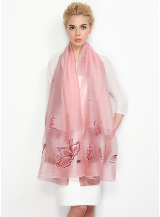 Floral Light Weight/Oversized Wool/Mulberry silk Silk Scarf