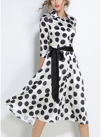 Polyester With Bowknot/Stitching Midi Dress