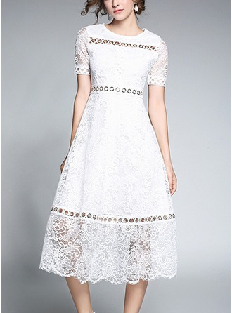 Lace With Lace/Stitching/Hollow/Crumple Midi Dress