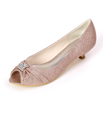 Women's Sparkling Glitter Kitten Heel Peep Toe Pumps With Rhinestone