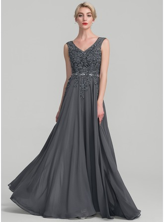 A-Line/Princess V-neck Floor-Length Chiffon Lace Evening Dress With Beading Sequins